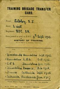 Training Brigade transfer card of Lt Samuel John Sibley, 1917