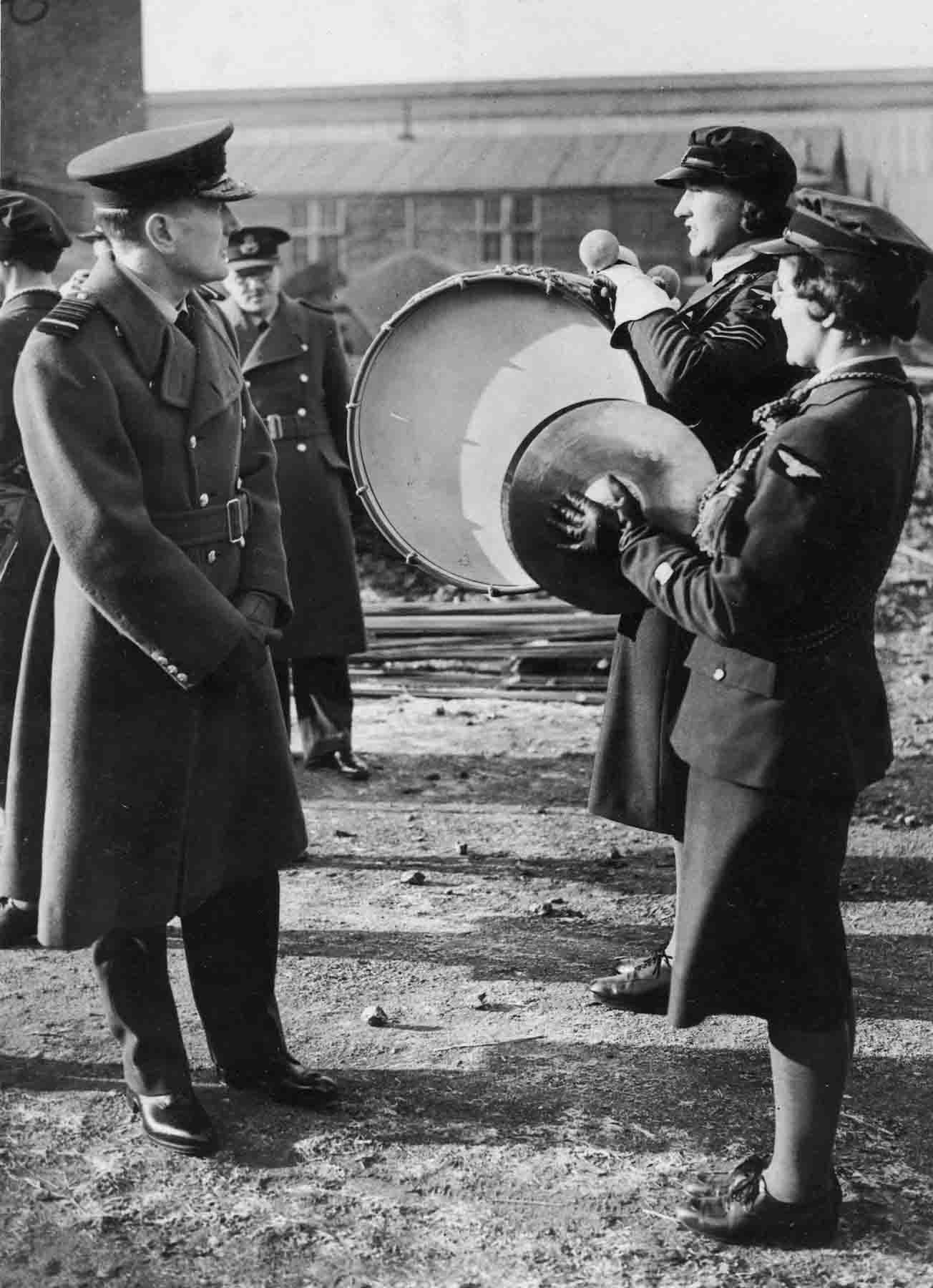Another WAAF tradition: AM Arthur Longmore inspecting members of the WAAF Depot Band at West Drayton, Winter, 1939-1940