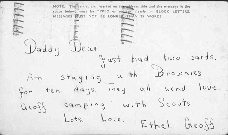 X002-9403 – Postcard from Ethel and Geoffrey to LAC Thomas Walter Fisher. RAF Museum