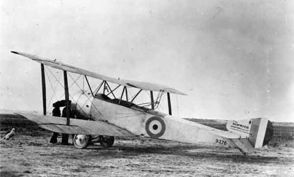 X003-2602/13838: Sopwith 1½ Strutter, serial 9376, RNAS, 1916.  This early aircraft, probably serving with 5 Wing, RNAS at Coudekerque when photographed, was equipped with the unpopular Etévé gun mounting on the rear cockpit.  No forward-firing gun was fitted.