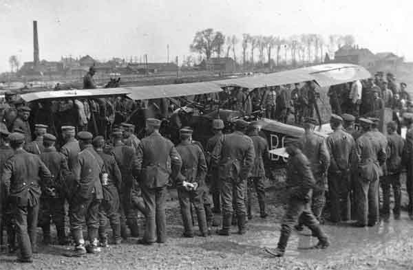 """X003-2602/14020: Sopwith 1½ Strutter, serial A1073, (B6), captured, April 1917.  This ex-B Flight, 43 Squadron, RFC, aircraft, seen surrounded by German troops, was brought down during the difficult month known by the RFC as """"Bloody April"""""""