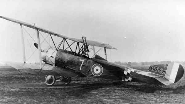 X003-2602/14034: Sopwith 1½ Strutter, serial B762, (7), 78 Squadron/Aeroplane Experimental Station, RFC, Martlesham Heath, 1917, rebuilt from salvage by 1 (Southern) Aircraft Repair Depot, denoted by the style of serial presentation on the tailfin..  The aircraft was one of the first to be converted to the 'Comic' configuration, as suggested by 78 Squadron's Captain F.W. Honnett, by the relocation of the pilot to the rear cockpit, the fitting of twin Lewis guns to the upper wing centre section, the provision of lower wing root cut-outs and the addition of a headrest.  A red, white and blue chequer pattern band was applied to the rear fuselage and the numeral was repeated on the upper fuselage decking and on the starboard upper wing.