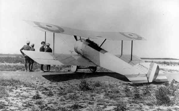X003-2602-14281: Sopwith Pup prototype, serial 3691.  The aircraft was probably at Dunkerque, serving with A Squadron, 5 Wing, RNAS, when photographed.  Although a Sopwith-built aircraft, the elevators bear the span-wise red, white and blue stripes more often associated with Beardmore-produced Pups.