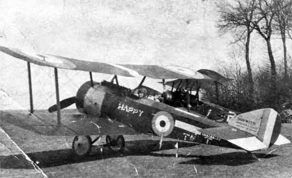X003-2602/14356: Sopwith Pup, serial N6181, 'HMA Happy', 3 Squadron, RNAS, Marieux, 1917.  A considerable number of naval Pups were given individual names by their pilots, some less reverent that others.