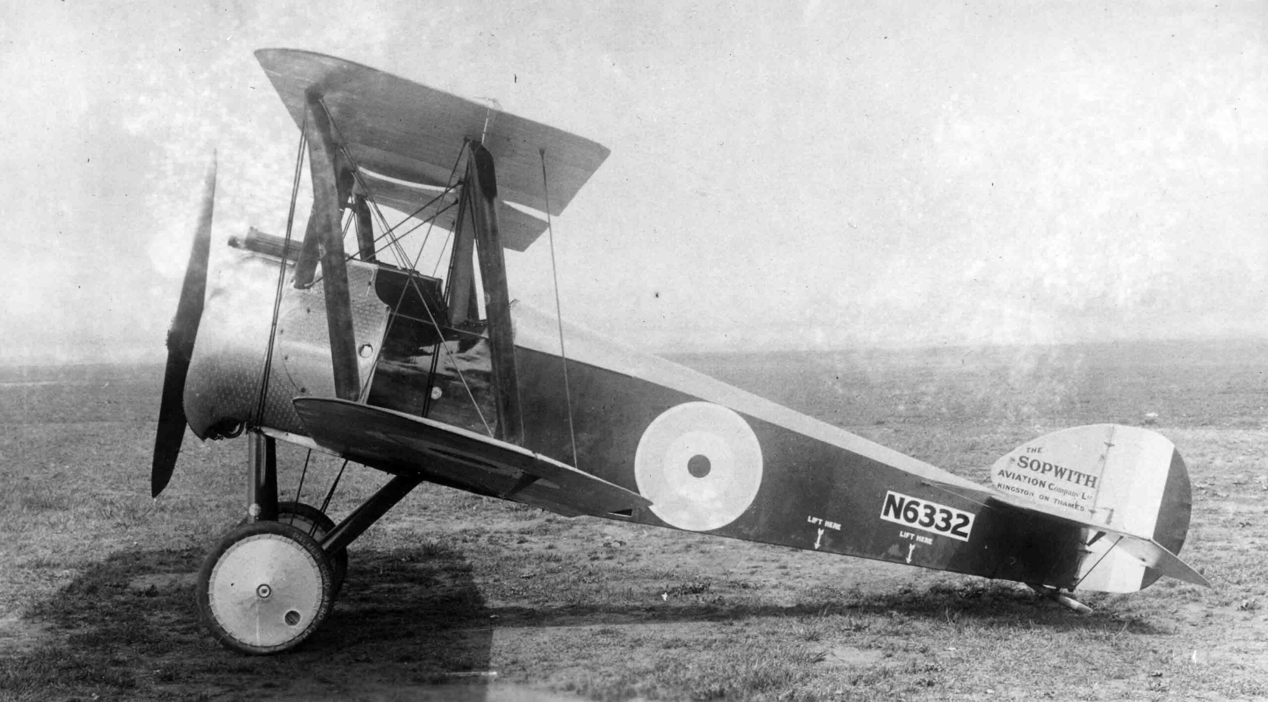 X003-2602-14911: This early-production aircraft, serial N6332, was fitted with a 130hp Clerget 9B engine when photographed at Brooklands in April or May 1917.