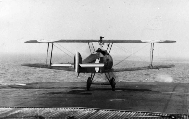 X003-2602/15778: A Beardmore-built Sopwith 2F.1 Camel taking off from HMS Furious on 4 June 1918.