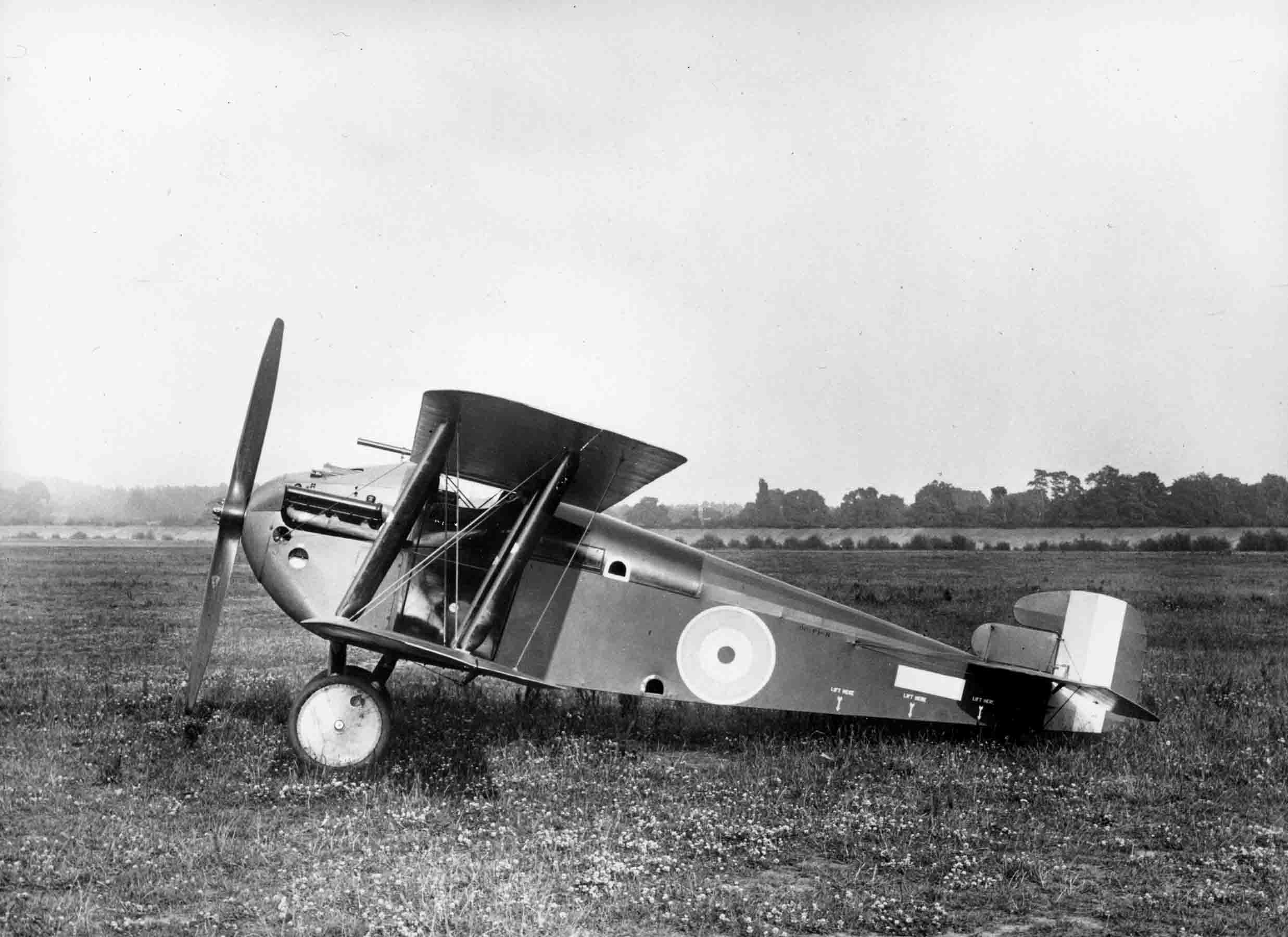 X003-2602/15949: Although this is the second Dolphin prototype, production-standard aircraft retained many of its basic features.  The aircraft is in its original form with small upper wing radiators, no propeller spinner and the initial version of the balanced rudder.  It is seen at Brooklands in July 1917.
