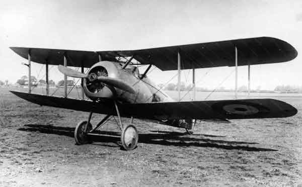 Sopwith 7F.1 Snipe, serial E8027, Brooklands, 1918.  This was an early-production aircraft with plain upper wing ailerons and a small tail fin and rudder.
