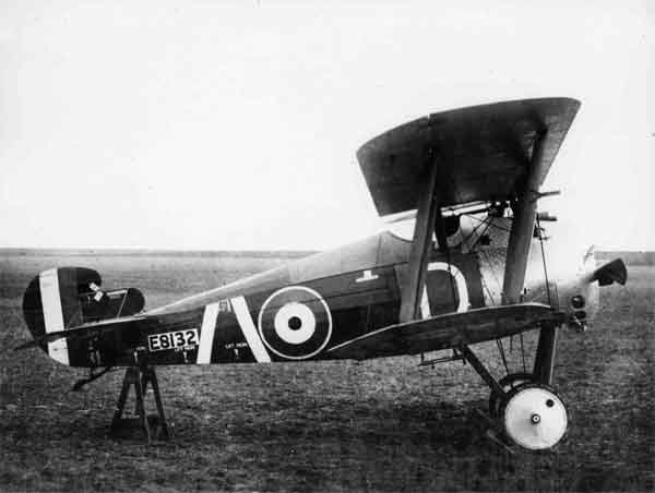 Sopwith 7F.1 Snipe, serial E8132, (D), A Flight, 208 Squadron, RAF, late 1918 or 1919.  Few Snipes saw service before the war's conclusion but this early-production example, with plain upper wing ailerons and a small tail fin and rudder, may have done so.  It was finished in the late-war AMA doping scheme and the squadron marking of two sloping white bars was applied aft of the fuselage roundel.