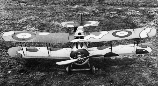 X003-2602/16493: Sopwith TF.2 Salamander, probably serial E5431.  This view shows the upper-surface pattern of the Ministry of Munitions Scheme for the Sopwith TF.2 Salamander.  Note the inconsistent size and placement of the upper-wing roundels.