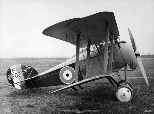 X003-2602/16509: Sopwith TF.2 Salamander, serial F6602, a late-production aircraft with balanced ailerons and large tail fin, probably photographed at Brooklands in January 1919.