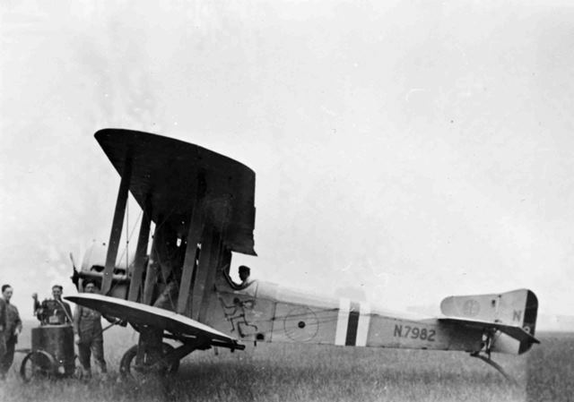 X003-2602/18057: Blackburn-built Sopwith Cuckoo, serial N7982, probably from B Flight of the RAF Development Squadron and probably photographed at Gosport during 1918 or 1919.  As with serial N7196, the aircraft is finished in light grey overall and the national markings are similarly subdued.  A black and white or red and white band has been applied to the rear fuselage and a 'Grim Reaper' motif added to the cockpit side.