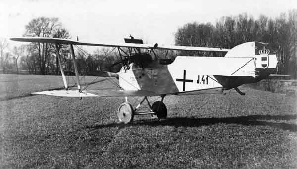 X003-2602/18805: Phönix D.III, serial J41. This aircraft was probably at the Phönix Works, Stadlau, when photographed. The aircraft was built for the K. u. K. Seefliegerkorps in 1918 and is finished in the markings of that service.  The tail trestle has been deleted.