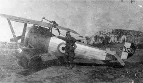 X003-2602/22082: Nieuport 23bis, serial B3591, 111 Squadron, RFC/RAF, at Sarona in 1918 with Lt W.S. Lighthall standing in front. The aircraft was fitted with a Vickers gun and a Lewis gun.