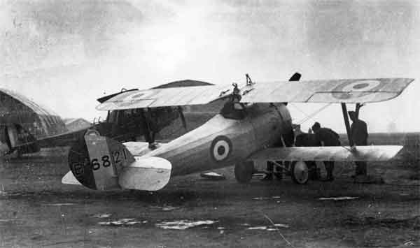 X003-2602/22114: Nieuport 27, serial B6821, 1 Aircraft Depot, RFC, at St. Omer on 19th December 1917 with a Napier-built Royal Aircraft Factory R.E.8, serial B2258, in background.