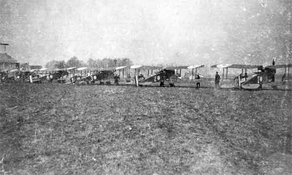 X003-2602/3227: Bristol F.2as, A Flight, 48 Squadron, RFC, probably while at La Bellevue, 1917.  Identifiable aircraft are, from left to right: (5); (4); serial A3334, (3); serial A3324, (2) and serial A3336, (1).