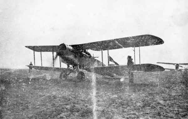 X003-2602/3228: A Bristol F.2a, (2), A Flight, 48 Squadron, RFC, at La Bellevue, pictured with the engine running in April 1917.  Although of poor quality, the image shows Flight Commander's streamers attached to the rear inboard struts.