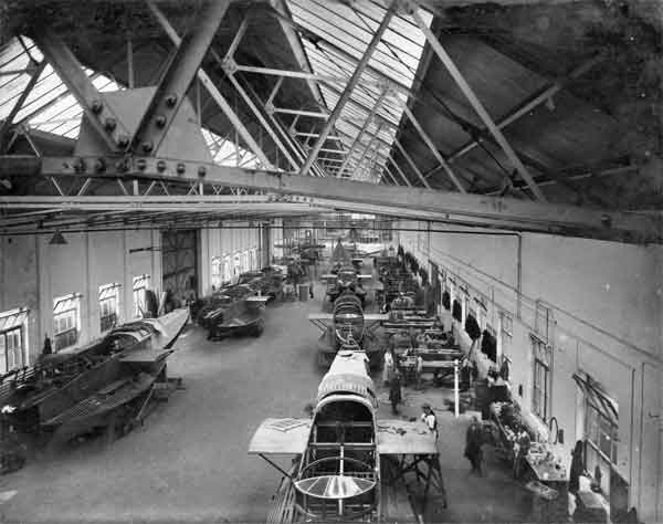 Felixstowe F.3 flying boat hulls being built at the Phoenix Dynamo Company works in 1918  (RAFM reference X003-2602/6753)
