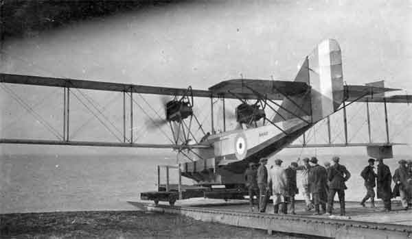 Newly-built Felixstowe F.3 flying boat N4401 being launched for flight testing in 1918 (RAFM reference X003-2602/6804)