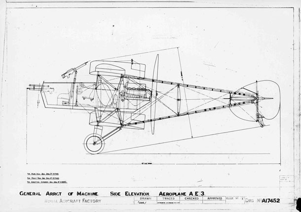 X003-2602/9176: A general arrangement drawing of the Hispano-Suiza-powered Royal Aircraft Factory A.E.3.