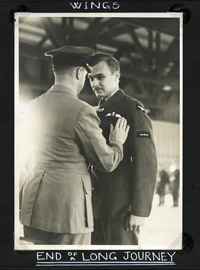 Flt Lt Pelham receiving his Pilots Wings, July 1941