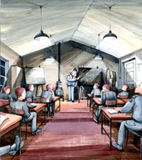 'I've never worked so hard...' painting by Flight Sergeant Albert Kimberley