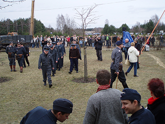 """A shot from a reconstruction of camp life in a POW camp. The demonstration on this subject took place as a part of the 65th anniversary of the """"Great Escape"""" from the POW camp of Stalag Luft III Sagan."""
