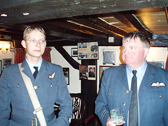 """The East Kirkby Reenactors Weekend. Photograph from a visit to the restaurant Blue Bell, which was frequented by aviators of the """"Dam Busters"""" Squadron."""