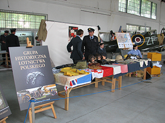 """Joint exposition with friends from the Polish """"Grupa historyczne lotnictwa Polskiego"""" from Kraków as part of an aviation day. This Polish military history club was founded after having been inspired by our participation in the 65th anniversary of the """"Great Escape."""""""