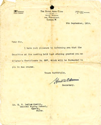 Letter from the Royal Aero Club to Lt E.R. Ludlow-Hewitt granting him an aviator's certificate, 1914