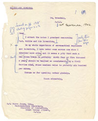 Letter from Wing Commander Winterbotham