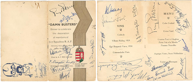 A menu from the celebratory dinner hosted by A.V. Roe & Co. Ltd. at the Hungaria Restaurant on 22 June 1943. The menu is signed by 19 members of 617 Squadron including Guy Gibson twice. Note the title!