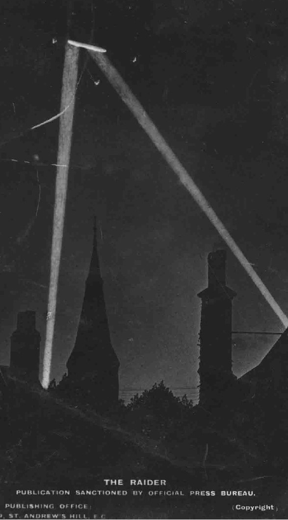 Poster showing airship caught in searchlights.