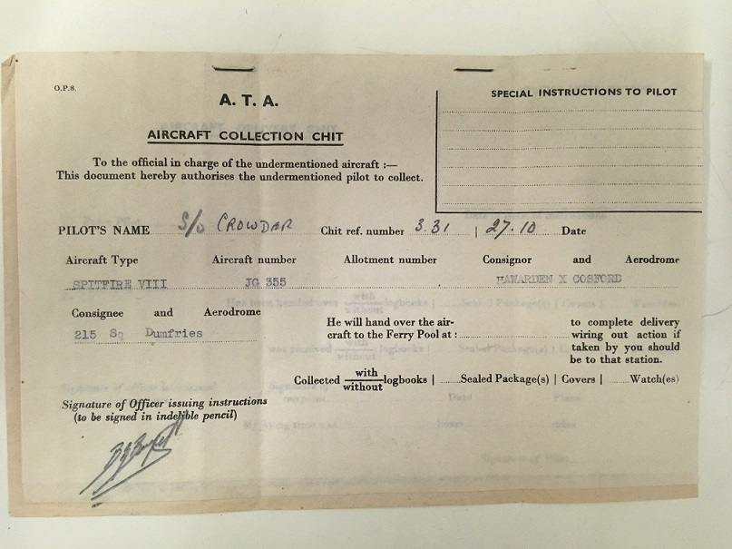 Collection chit for ATA pilot collecting a Spitfire.