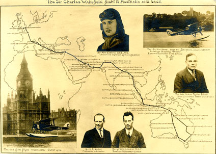 The route taken by Alan Cobham to Australia and back