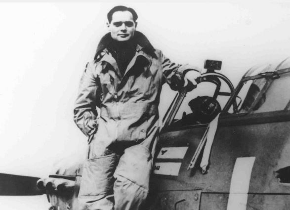 Figure 1:  PC94/131/22 Group Captain Douglas Bader on wing on his Hawker Hurricane, 1940. Royal Air Force Museum Collection.