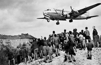A United States Air Force Douglas C-54 landing during the Berlin Airlift