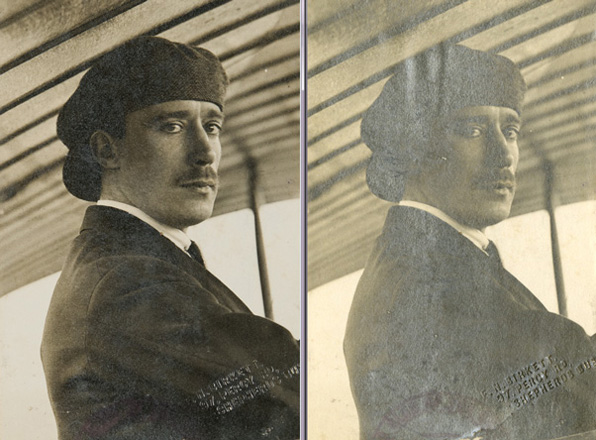 Two of the same photograph, one captured by camera, the other by scanning. The scanned image highlights the tarnish on the photograph.