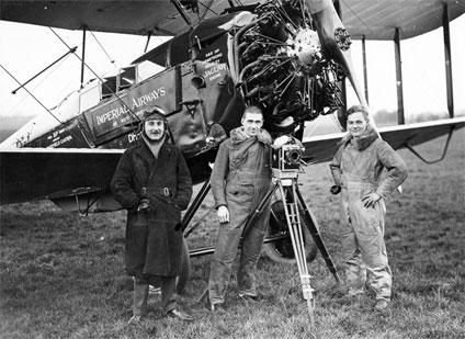 (From left to right) Alan Cobham, Basil Emmott and Arthur Elliott at Stag Lane Aerodrome, Edgware, London