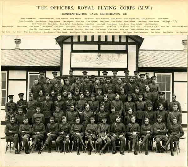 Group portrait of RFC officers at the Netheravon Concentration Camp, June 1914 (B2192)