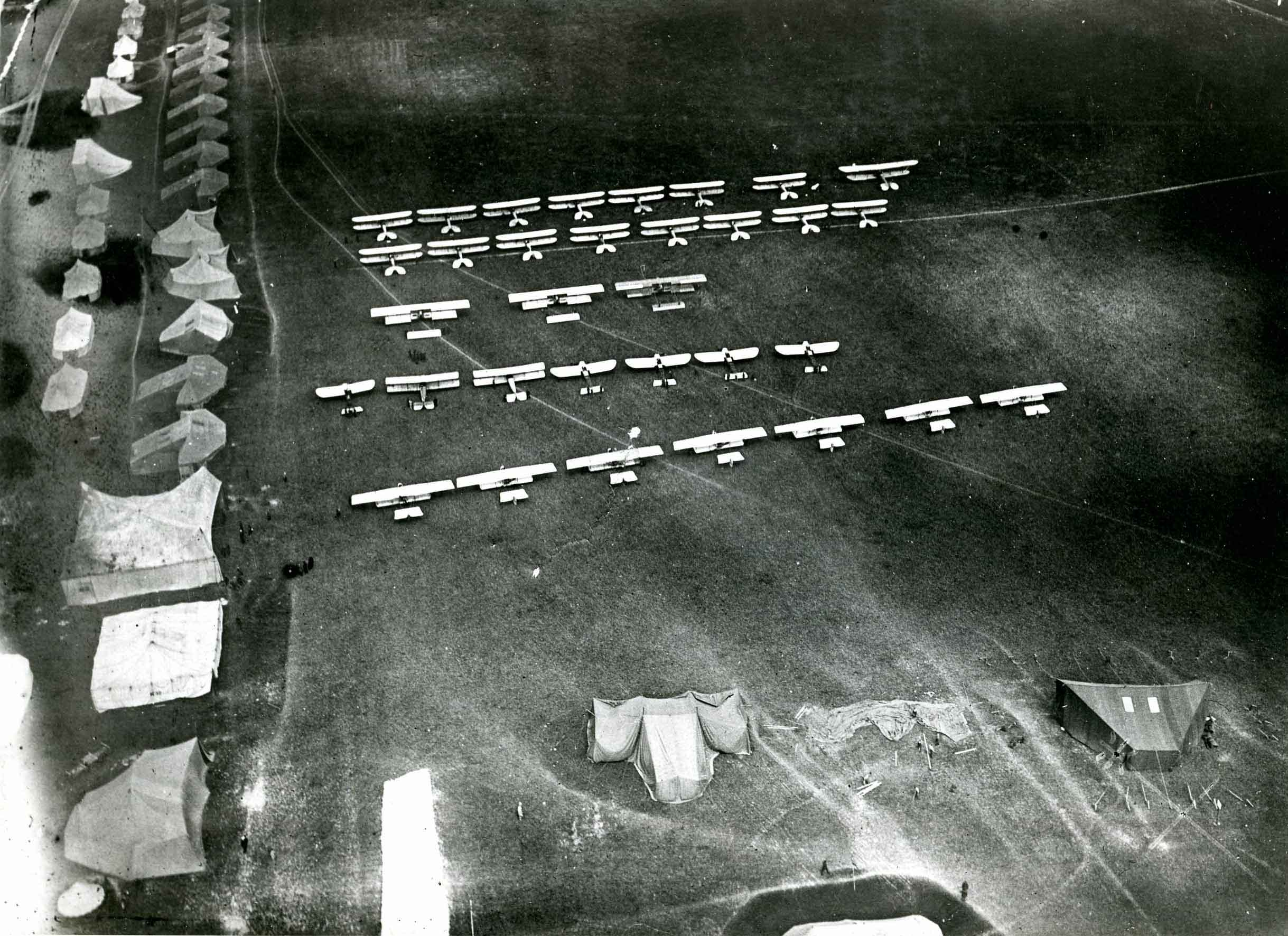 Aerial view of aircraft at Netheravon Concentration Camp (B2192)