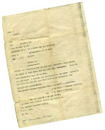 Teleprinter message relating to the parachute dropping of a replacement artificial leg over St. Omer, 19 August 1941.
