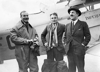 (From left to right) Alan Cobham, Arthur Elliott and Sir Sefton Brancker who flew on the incredible flight to India and back