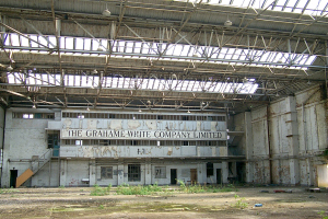 The derelict interior of the Grahame-White Factory