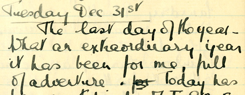Extract from Grace Berry's diary from New Year's Day 1918