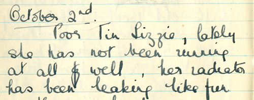 Extract from Grace Berry's dairy about Tin Lizzie
