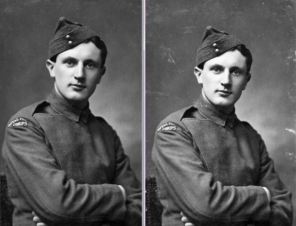 Before and after shots of a photograph with its scratches removed.
