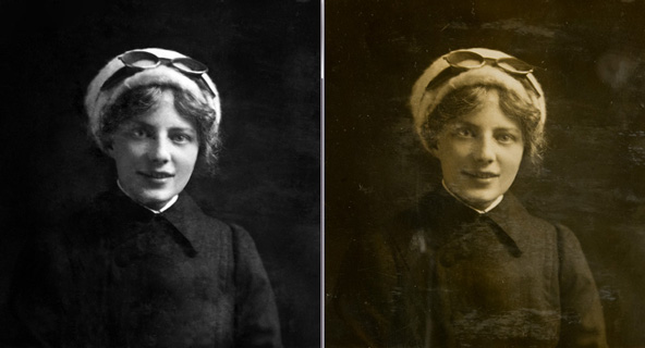 Before and after shot of a photograph with its scratches removed.