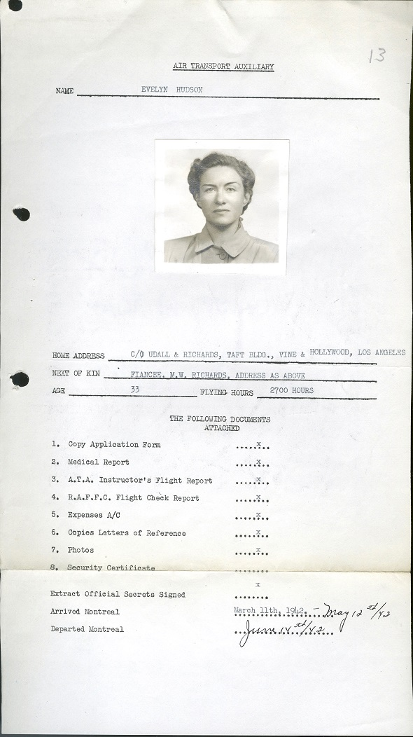 Front pafe of personnel file of Evelyn Hudson.