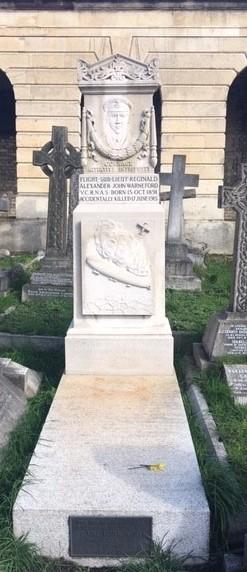 White stone grave of Sub-Lieutenant R A Warneford VC